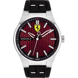 Men's Speciale Black Silicone Strap Watch