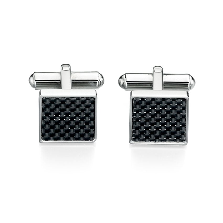Fred Bennett Men's Stainless Steel and Black Carbon Fibre Cufflinks V421