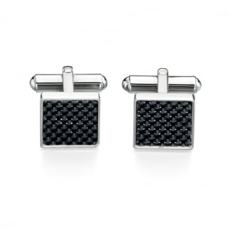Men's Stainless Steel and Black Carbon Fibre Cufflinks