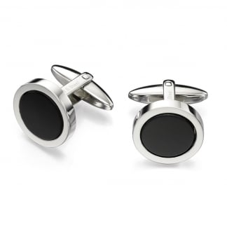 Men's Stainless Steel and Black Onyx Round Cufflinks