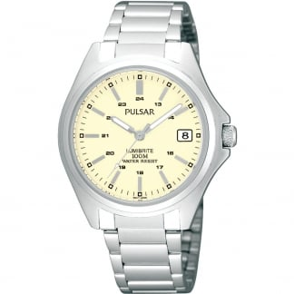 Men's Stainless Steel and Cream Dial Watch
