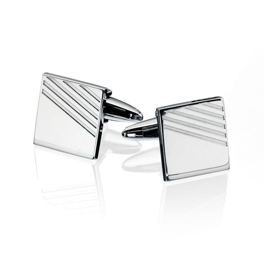 Fred Bennett Men's Stainless Steel Ribbed Cufflinks V415