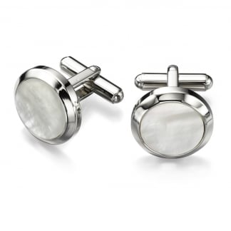 Men's Stainless Steel Round Mother of Pearl Cufflinks