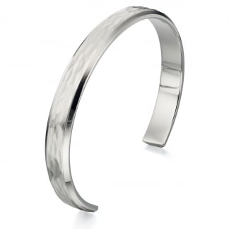 Men's Stainless Steel Textured Bangle