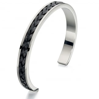 Men's Steel and Black Leather Cuff Bangle