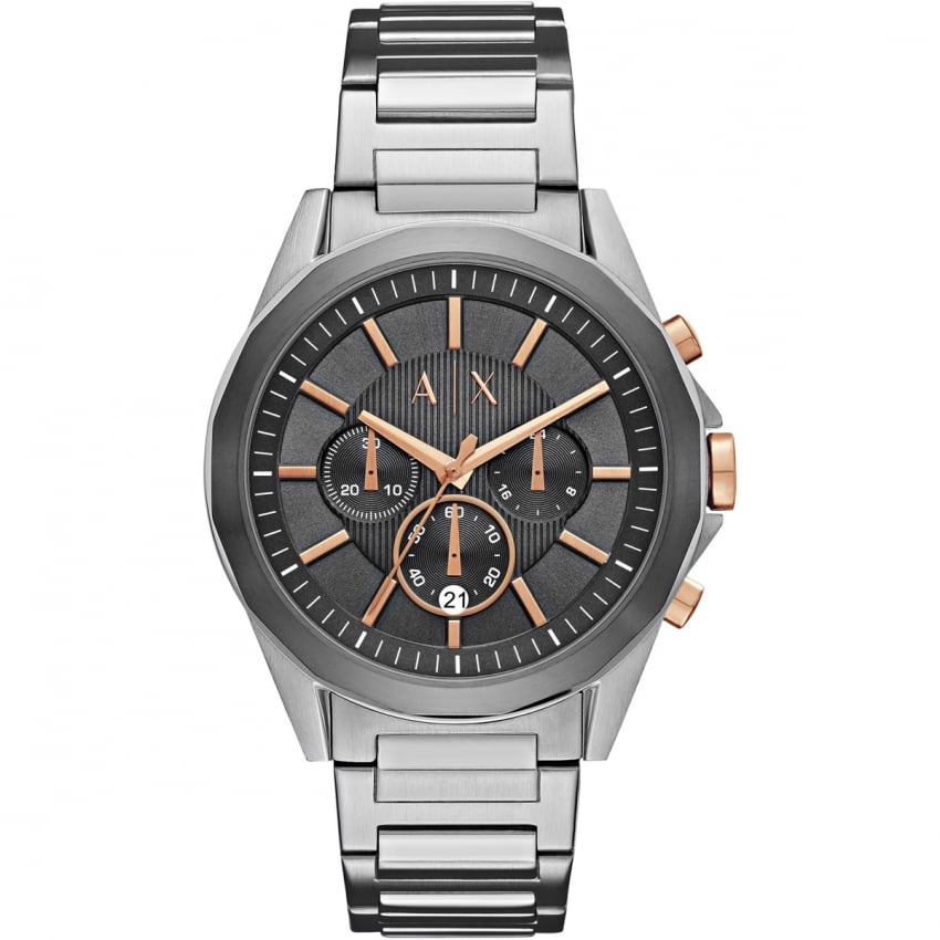 Armani Exchange Men's Steel and Rose Chronograph Watch AX2606