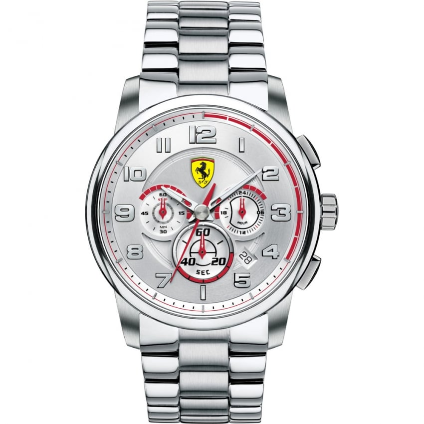 Scuderia Ferrari Men's Steel Chronograph Watch with Red Accents 0830055