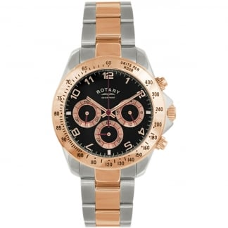 Men's Steel & Rose Gold Chronograph Watch
