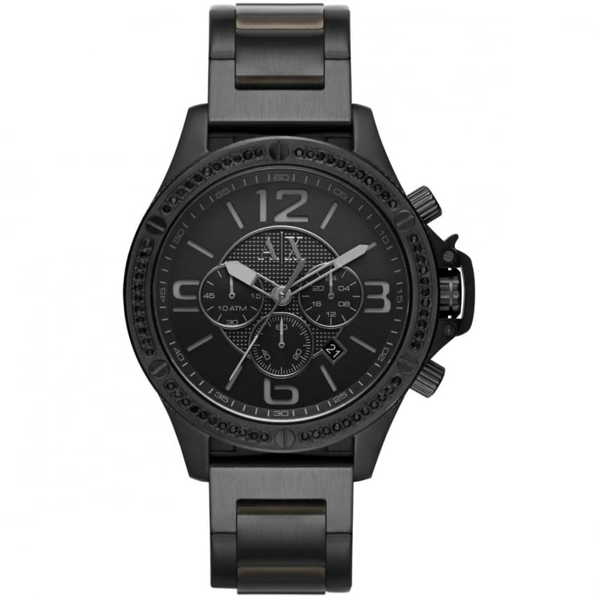Armani Exchange Men's Stone Set Black Steel Chronograph Watch AX1520