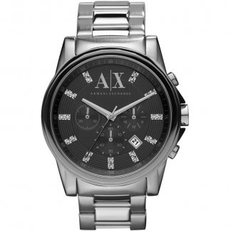 Men's Stone Set Chronograph Steel Bracelet Watch