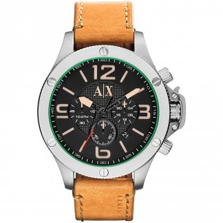 Men's Tan Leather Chronograph Watch AX1516