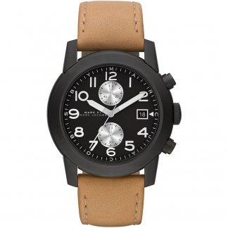 Men's Tan Leather Strap Larry Chronograph Watch MBM5053