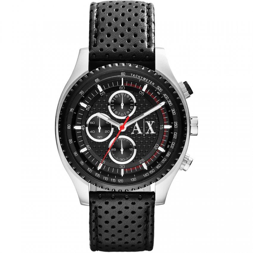 Armani Exchange Men's Black Leather Chronograph Watch AX1600