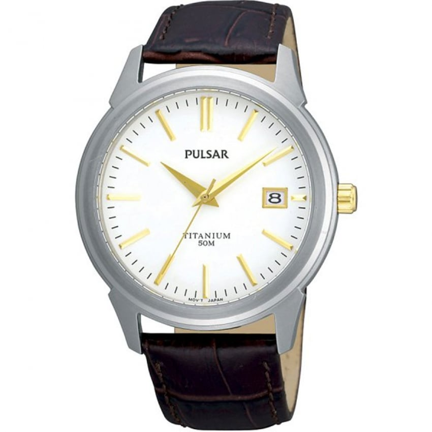 Pulsar Men's Titanium and Brown Strap Watch PXHA21X1