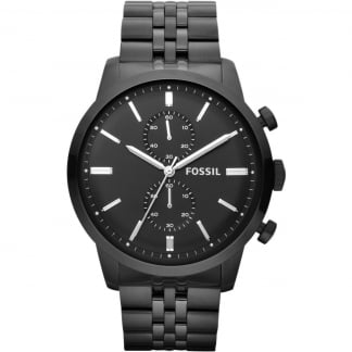 Men's Townsman Black Steel Chronograph Watch
