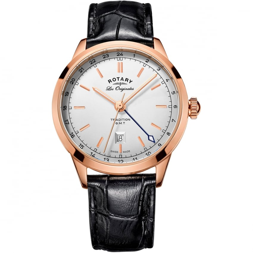 Rotary Men's Traditional Quartz GMT Rose Gold Watch GS90183/02