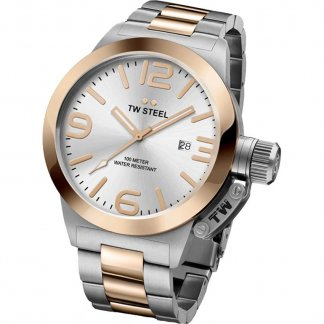 Men's Canteen Steel & Rose Gold Bracelet Watch