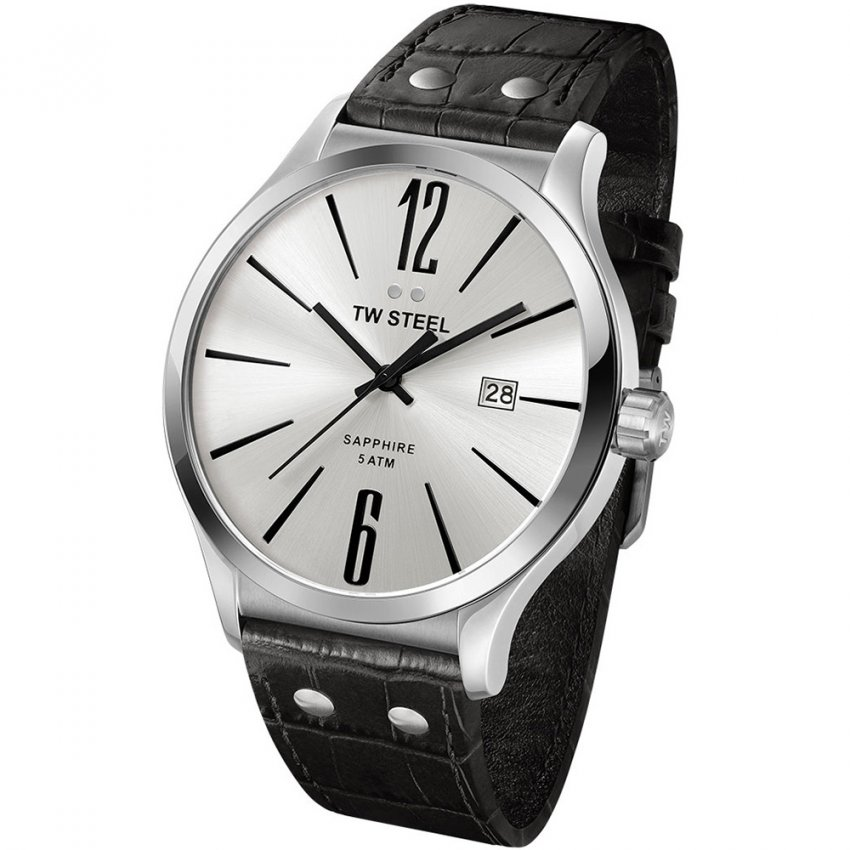 TW Steel Men's Slim Line 45MM Silver Dial Watch TW1301