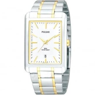 Men's Two Tone Rectangular White Dial Watch