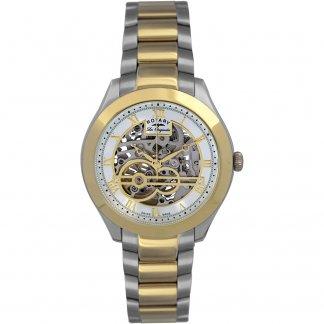 Men's Two Tone Swiss Automatic Skeleton Watch