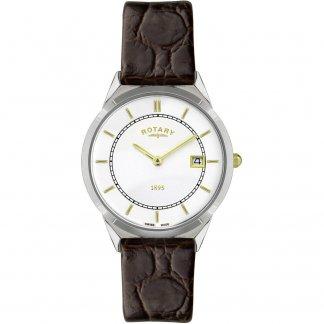 Men's Ultra Slim Brown Leather Strap Watch