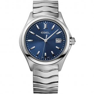 Men's Wave Blue Dial Steel Bracelet Watch
