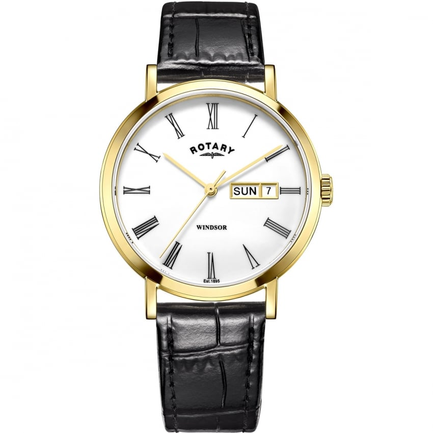 Rotary Men's Windsor Gold Plated Day/Date Strap Watch GS05303/01