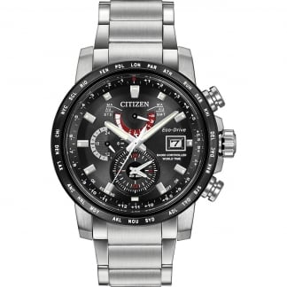 Men's World Time A-T Radio-Controlled Eco-Drive Watch