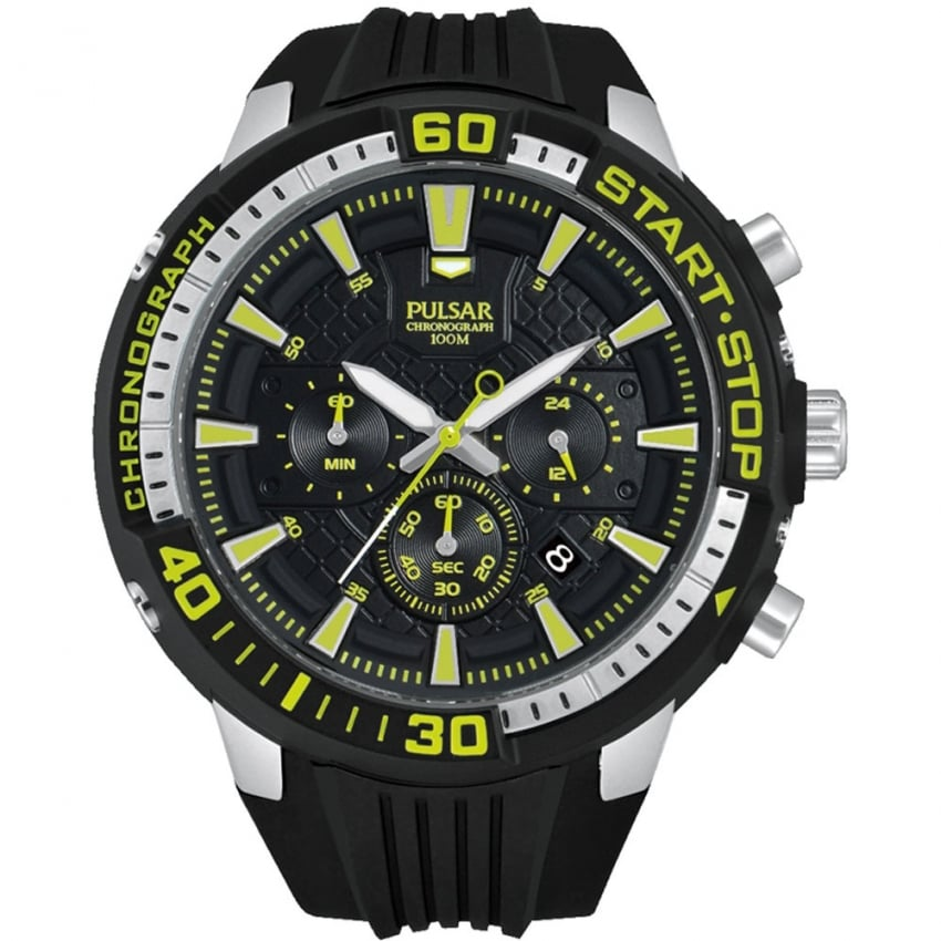 Pulsar Men's X Collection Chronograph Watch With Green Detail PT3503X1