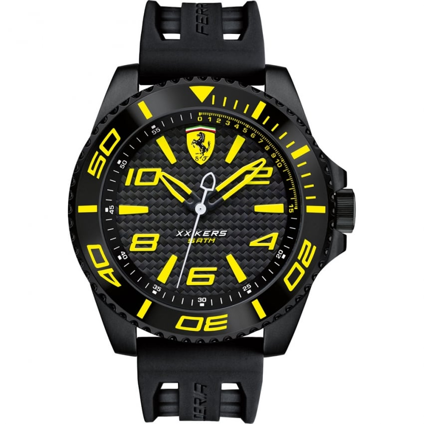 Scuderia Ferrari Men's XX Kers Black Strap Watch with Yellow Accents 0830307