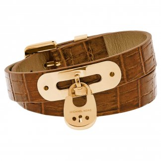 Cityscape Whisky Leather Padlock Cuff