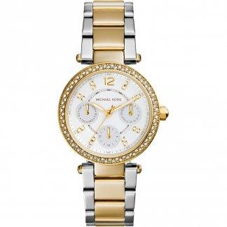 Glitzy Two Tone Ladies Mini Parker Watch MK6055