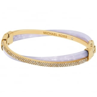 Gold & Lavender Pave Criss-Cross Bangle