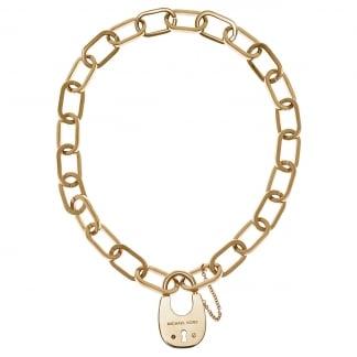 Gold Tone Padlock Necklace MKJ4637710