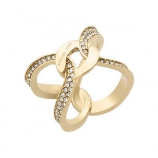 Gold Plated Stone Set Crossover Ring