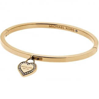Gold Stone Set Heart Logo Bangle