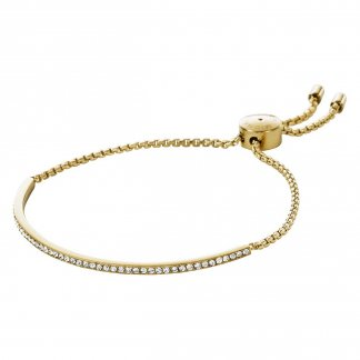 Gold Tone Crystal Set Slider Bracelet