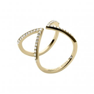 Gold Tone CZ Arrow Motif Ring