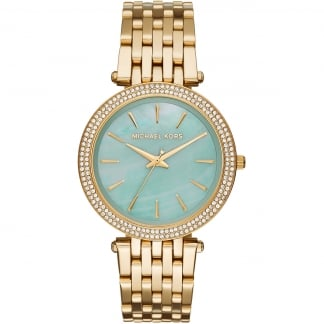Gold Tone Ladies Darci Watch With Green MOP Dial MK3498