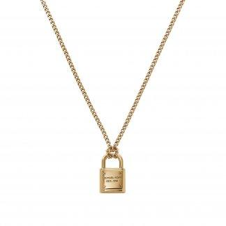 Gold Tone Padlock Necklace MKJ3489710