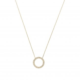Gold Tone Pave Circle Necklace MKJ3294710