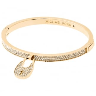 Gold Tone Stone Set Heritage Padlock Bangle