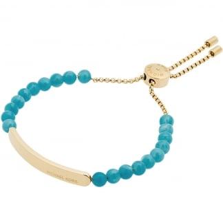 Gold Turquoise Beaded Heritage Slider Bracelet MKJ5583710