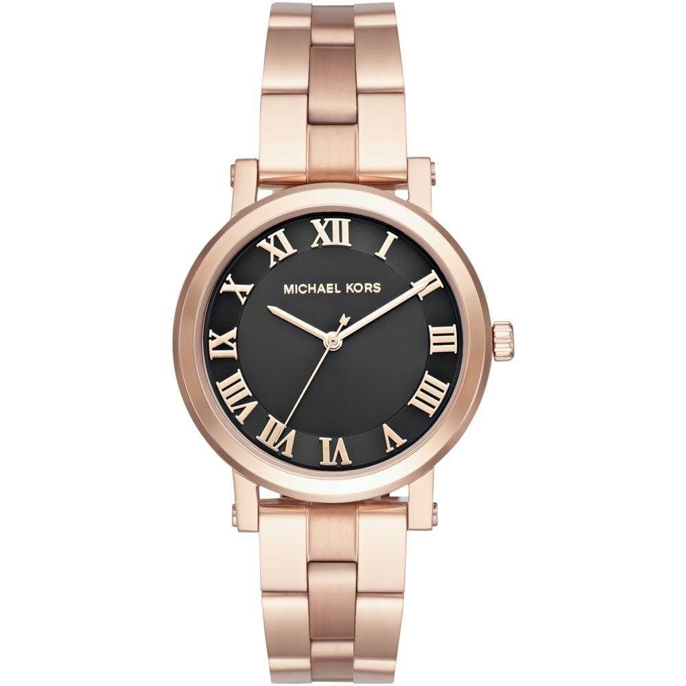 c4a5312ac512 Michael Kors Ladies Black Dial Rose Gold Norie Watch Product Code  MK3585