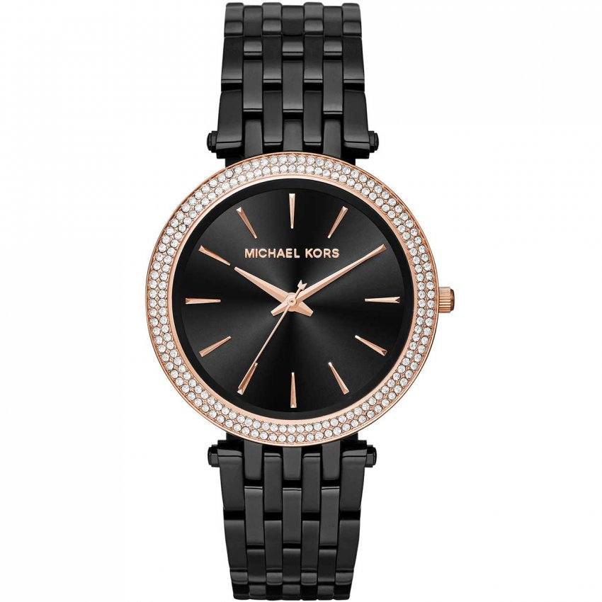 Kors ladies black ip darci glitz watch with rose gold detail mk3407
