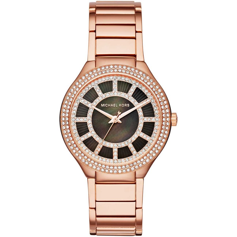 78bde5949b57 Ladies Black Mother of Pearl Glitzy Rose Gold Kerry Watch. Michael Kors ...