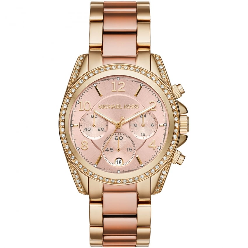 Michael Kors Ladies Blair Gold & Rose Chronograph Watch MK6316