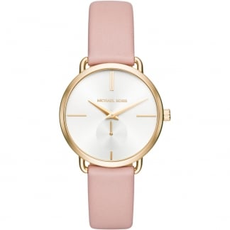 Ladies Blush Pink Leather Strap Portia Watch MK2659