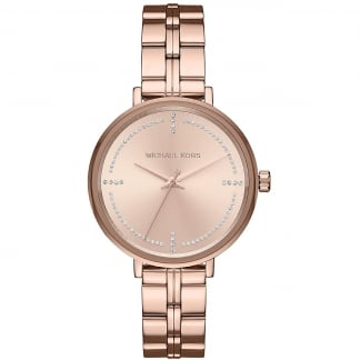 Ladies Bridgette Rose Gold Stone Set Watch