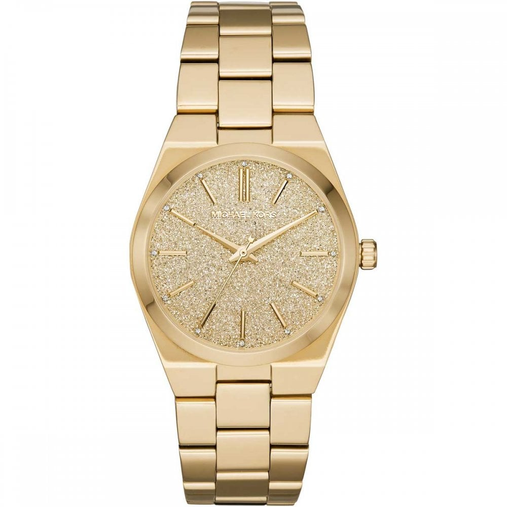 3d6757232746 Michael Kors Ladies Channing Gold-Tone Glitter Dial Watch - Watches ...